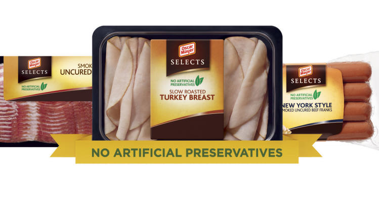 In this undated product image released by Oscar Mayer, a variety of Oscar Mayer meat products, from left, smoked uncured bacon, slow roasted turkey breast and New York Style smoked uncured beef franks are shown. Turkey, or prosciutto or even soppressata can be found at most local supermarkets these days, part of a trend that has seen cold cut cases break out of the ham-and-more-ham routine. Meanwhile, old favorites are getting a makeover, like the new line of Oscar Mayer Selects making their debut this week free of artificial flavors, preservatives and colors.  (AP Photo/Oscar Mayer)