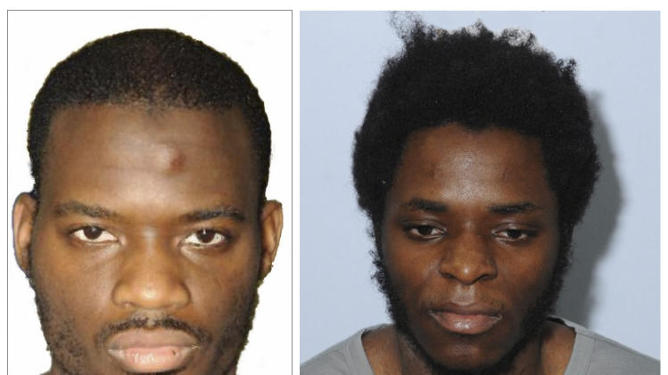 A combination photo shows the police custody photographs of Adebolajo and Adebolawe in images released by the court during the Lee Rigby murder trial at the Old Bailey, and received via the Metropolitan Police, in London