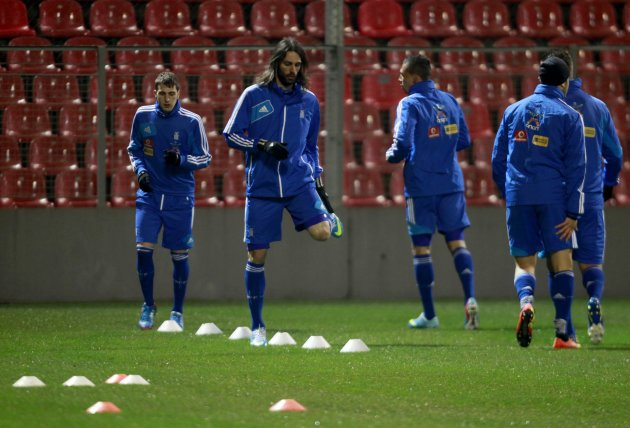 Greek national soccer team players take part in a training session in Hrasnica