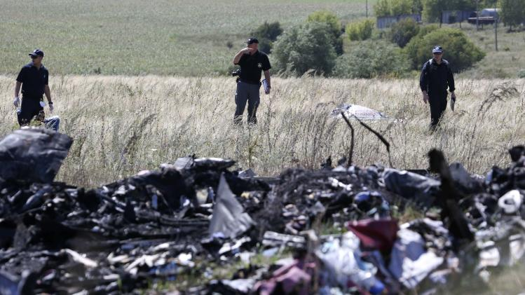 Group of international experts, including members of the Dutch police mission, work at the site where the downed Malaysia airlines flight MH17 crashed in Donetsk region