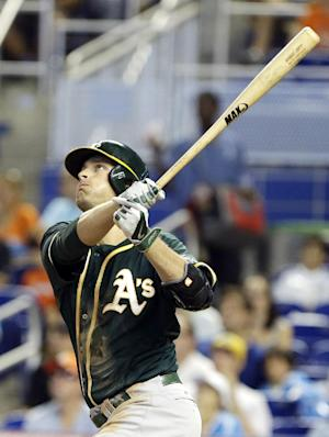 A's complete sweep of Marlins, 4-3