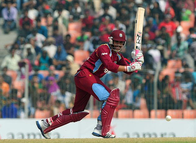 West Indies cricketer Sunil Narine plays a shot during the first one day international cricket match between Bangladesh and The West Indies at The Sheikh Abu Naser Stadium in Khulna on November 30, 20