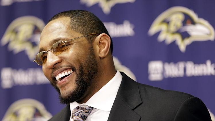 Baltimore Ravens inside linebacker Ray Lewis smiles during a media availability after an NFL wild card playoff football game against the Indianapolis Colts Sunday, Jan. 6, 2013, in Baltimore. The Ravens won 24-9. (AP Photo/Patrick Semansky)