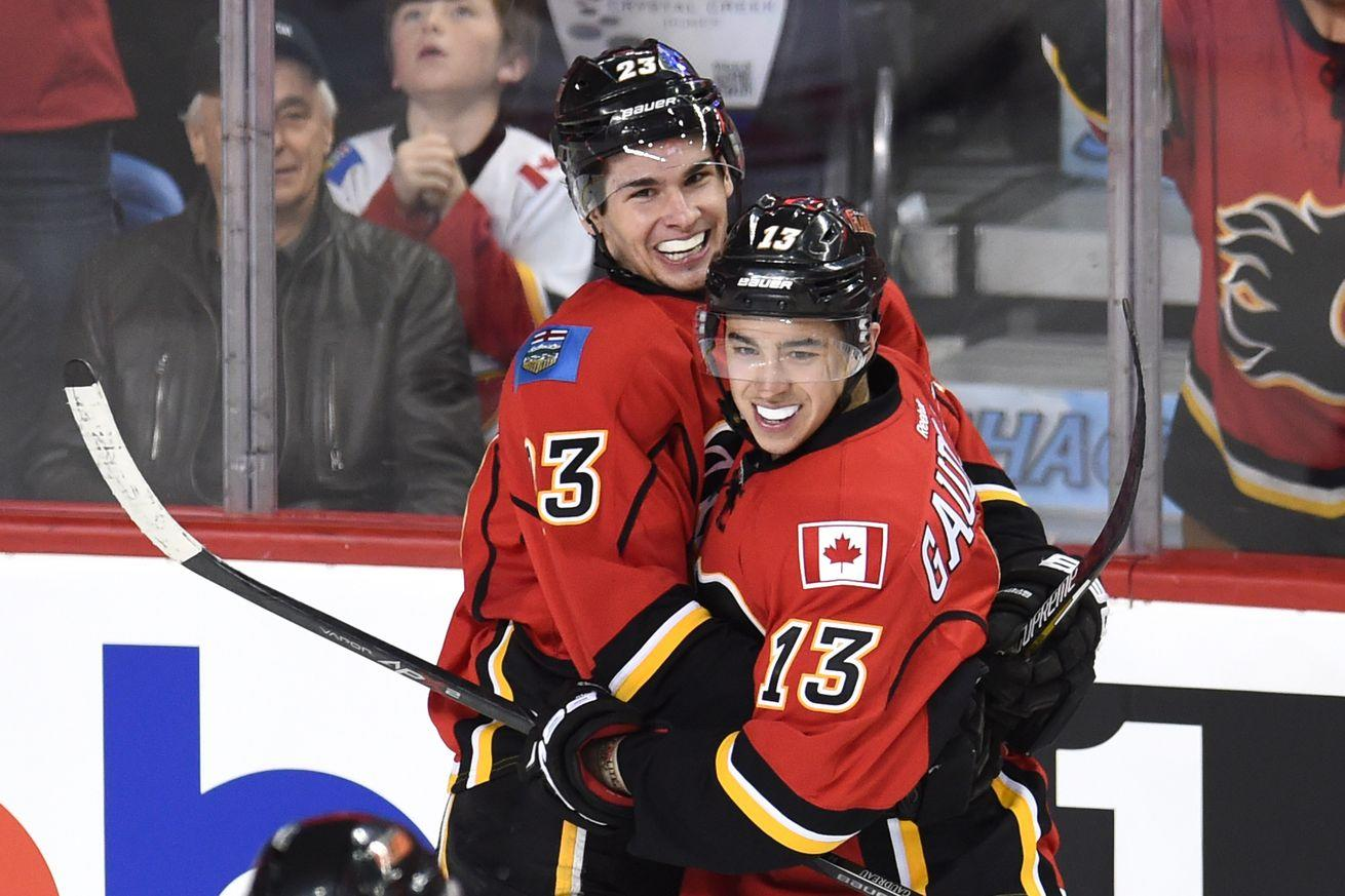 Flames bench star players Johnny Gaudreau, Sean Monahan for nearly arriving late to practice
