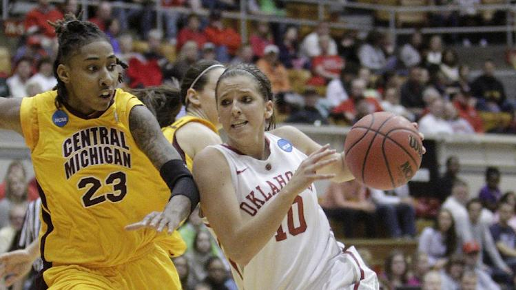 Oklahoma's Morgan Hook, right, drives to the basket against Central Michigan's Crystal Bradford during the second half of a first-round game in the women's NCAA college basketball tournament Saturday, March 23, 2013, in Columbus, Ohio. Oklahoma beat Central Michigan 78-73. (AP Photo/Jay LaPrete)