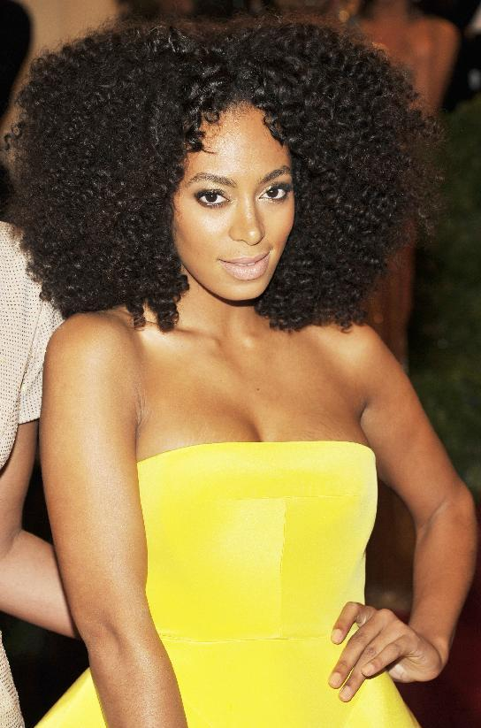 Solange Knowles arrives at the Metropolitan Museum of Art Costume Institute gala benefit, celebrating Elsa Schiaparelli and Miuccia Prada, Monday, May 7, 2012 in New York. (AP Photo/Charles Sykes)