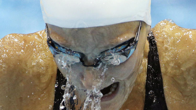 Australia's Leiston Pickett competes in a women's 100-meter breaststroke swimming heat at the Aquatics Centre in the Olympic Park during the 2012 Summer Olympics in London, Sunday, July 29, 2012. (AP Photo/Michael Sohn)