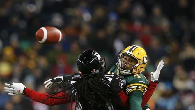 Ottawa Redblacks' Kanneh is called for pass interference on Edmonton Eskimos' Bowman during the CFL's 103rd Grey Cup championship football game in Winnipeg