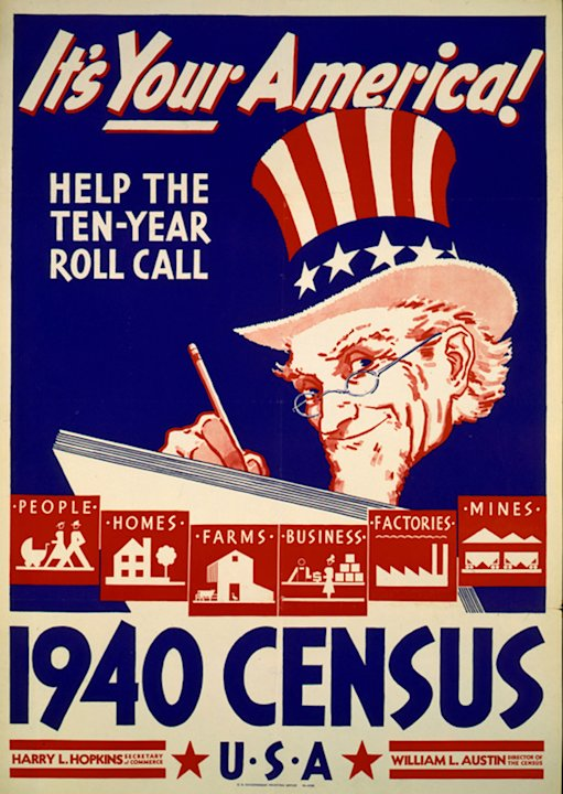 In this photo provided by the Library of Congress, Prints & Photographs Division, a poster for the 1940 Census is shown. Veiled in secrecy for 72 years because of privacy protections, the 1940 U.S. Ce