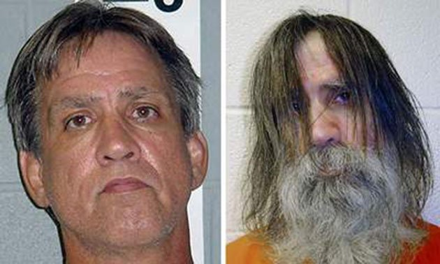 Stephen Slivin at the time of his booking (left) and his release (right)
