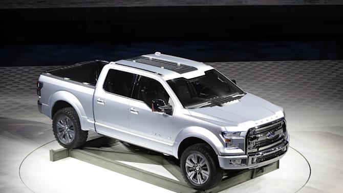 The Ford Atlas concept pickup is unveiled at the North American International Auto Show in Detroit, Tuesday, Jan. 15, 2013. (AP Photo/Carlos Osorio)