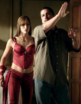 Jennifer Garner and director Rob Bowman on the set of 20th Century Fox's Elektra