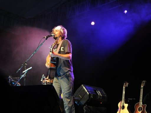 US Musician Jason Mraz performs onstage during an acoustic concert in Indonesia in 2011