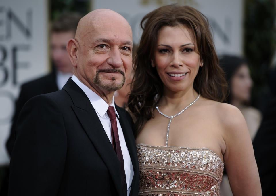 Ben Kingsley and his wife Daniela Lavender arrive at the 69th Annual Golden Globe Awards Sunday, Jan. 15, 2012, in Los Angeles. (AP Photo/Chris Pizzello)