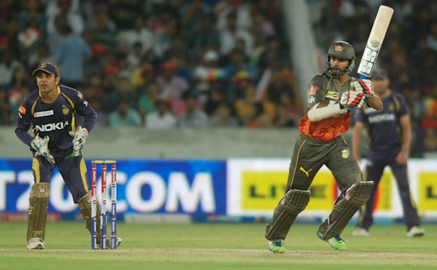 SRH batsman Sikhar Dhawan in action during the match between Sunrisers Hyderabad and Kolkata Knight Riders at Rajiv Gandhi International Cricket Stadium Uppal in Hyderabad (Deccan), May 19, 2013. (Pho