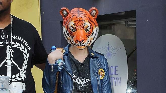 Kesha Wearing Tiger Mask