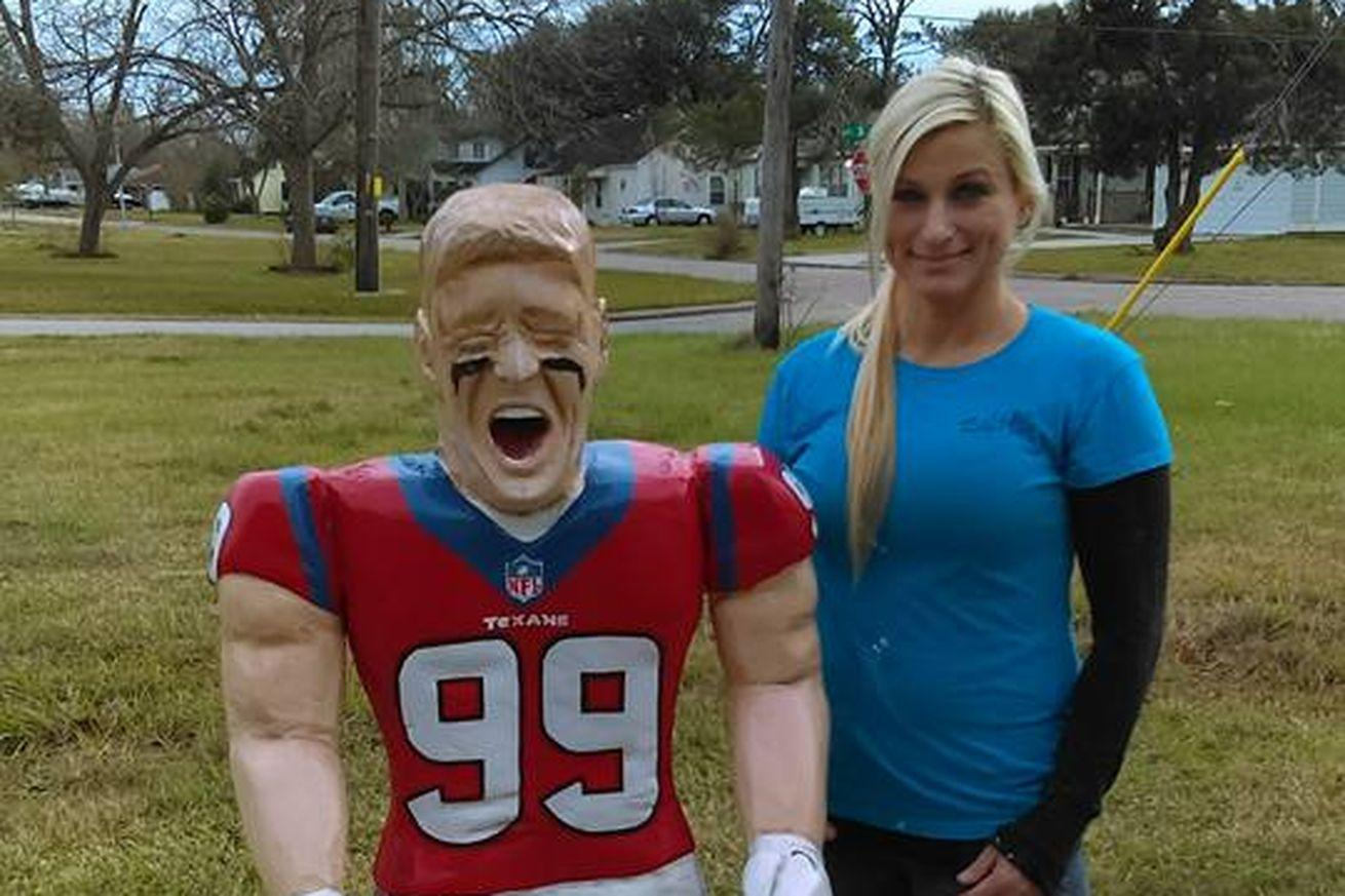 Texans fan carves giant wooden J.J. Watt sculpture with chainsaw