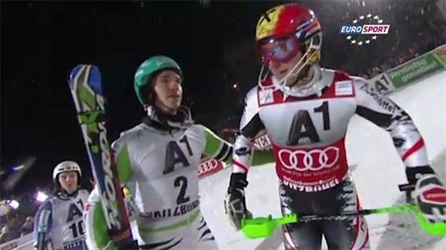 Felix Neureuther (left) commiserates with Marcel Hirscher (right)
