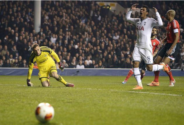 Tottenham Hotspur's Paulinho reacts after a missed opportunity during their Europa League soccer match against Benfica at White Hart Lane in London