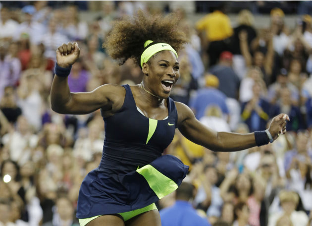 Serena Williams reacts after beating Victoria Azarenka, of Belarus, in the championship match at the 2012 US Open tennis tournament, Sunday, Sept. 9, 2012, in New York. Two points from defeat, William