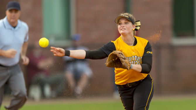 Southern Mississippi's Mallory Hayden throws to first during an NCAA college softball game against Auburn on Wednesday, April 1, 2015, at Rhoads Stadium in Tuscaloosa, Ala. (AP Photo/AL.com, Vasha Hunt)