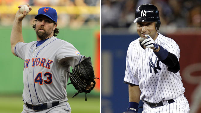 This combination made Tuesday, June 5, 2012, from file photos shows, at left, New York Mets pitcher R.A. Dickey on May 22, and New York Yankees' Derek Jeter on April 17. Fans around the world will be focused on the New York metropolitan area as it hosts at least four and maybe five major events, including a regular-season, three-day series between the city's two baseball teams, the Mets and Yankees, starting on Friday, June 8. (AP Photos/Files)