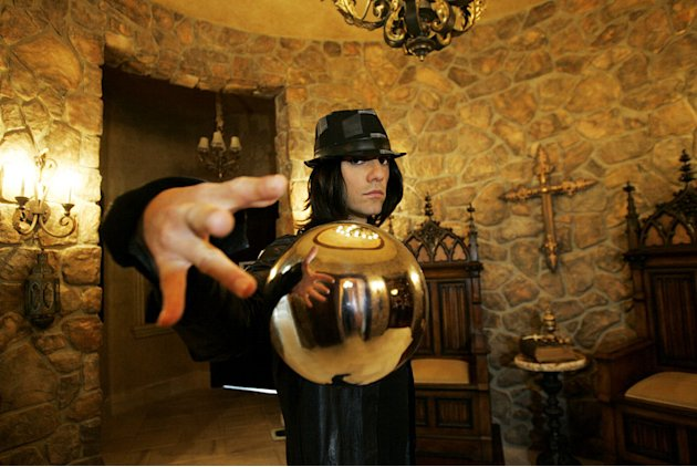 Criss Angel levitates a crystal ball during the filming of season six of &quot;Criss Angel Mindfreak.&quot; 