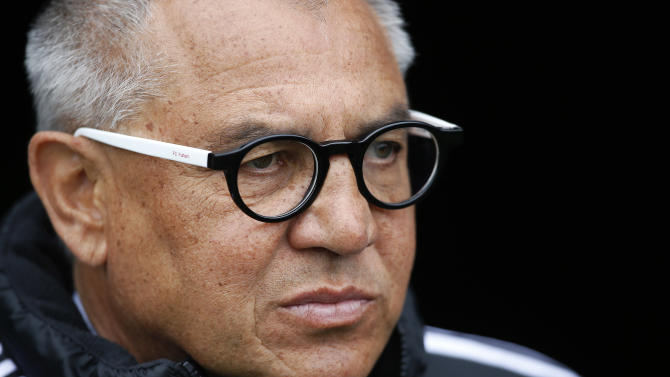 Fulham's German manager Felix Magath looks on during a football match in London on May 11, 2014
