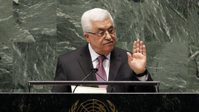 "in United Nations General Assembly, Thursday, Nov. 29, 2012. In a statement Thursday, Palestinian President Mahmoud Abbas appealed to all nations to vote in favor of the Palestinians ""as an investment in peace.""  (AP Photo/Richard Drew)"
