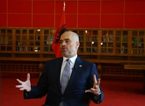 Albanian Prime Minister Edi Rama speaks during an interview…