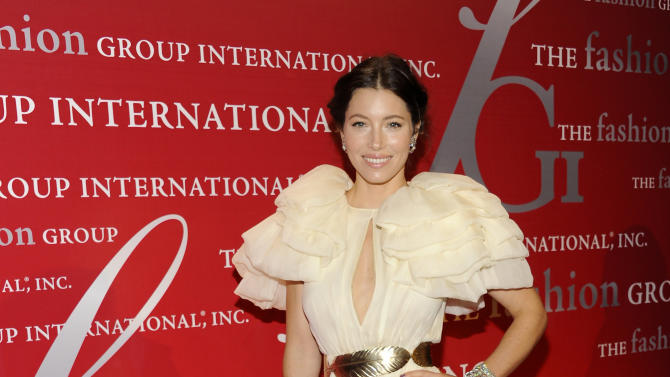 """Actress Jessica Biel attends the Fashion Group International's 28th Annual Night of Stars """"The Luminaries"""" at Cipriani Wall Street on Thursday, Oct. 27, 2011 in New York. (AP Photo/Evan Agostini)"""