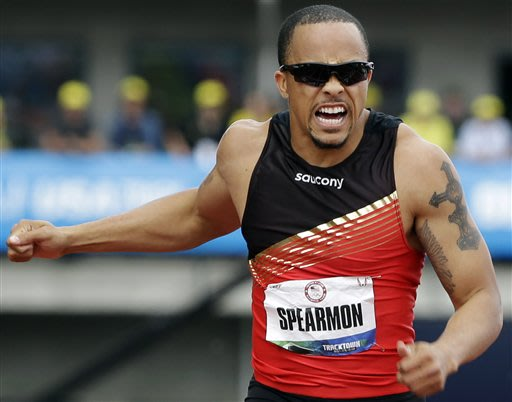 Wallace Spearmon Jr., wins the men's 200 meter final at the U.S. Olympic Track and Field Trials Sunday, July 1, 2012, in Eugene, Ore. (AP Photo/Eric Gay)