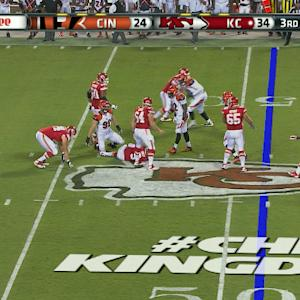 Cincinnati Bengals defensive end Margus Hunt sacks Kansas City Chiefs quarterback Tyler Bray
