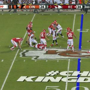 Cincinnati Bengals defensive end Margus Hunt sacks Kansas City Chiefs quarterback Tyler Bray