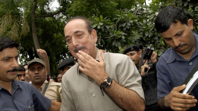 """Indian Health Minister Ghulam Nabi Azad leaves his residence in New Delhi, India, Tuesday, July 5, 2011. Azad has outraged activists by calling homosexuality a """"disease"""" and """"completely unnatural"""" during a conference on HIV/AIDS. Azad's description of homosexuality as a disease is regressive and hinders the country's fight against HIV and equal rights for gay people, rights activists said Tuesday.(AP Photo)"""