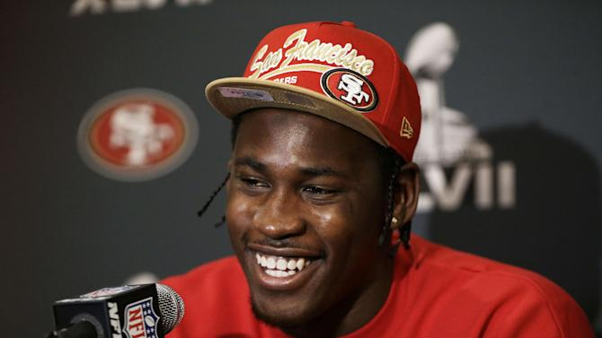 San Francisco 49ers linebacker Aldon Smith talks with reporters during a news conference on Monday, Jan. 28, 2013, in New Orleans. The 49ers are scheduled to play the Baltimore Ravens in the NFL Super Bowl XLVII football game on Feb. 3. (AP Photo/Mark Humphrey)