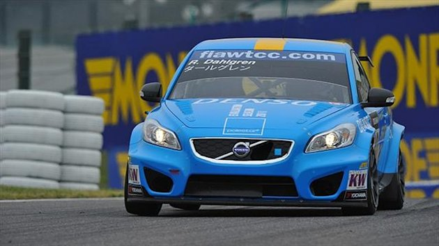 A Volvo Polestar car in WTCC action