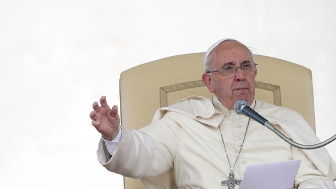 Pope Francis delivers his speech during his weekly general audience in St. Peter's Square at the Vatican, Wednesday, May 7, 2014. (AP Photo/Alessandra Tarantino)
