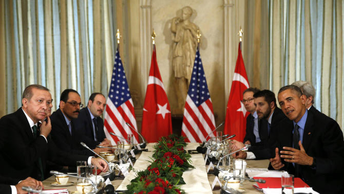 U.S. President Obama meets with Turkish President Erdogan at the U.S. ambassador's residence during the World Climate Change Conference 2015 in Paris