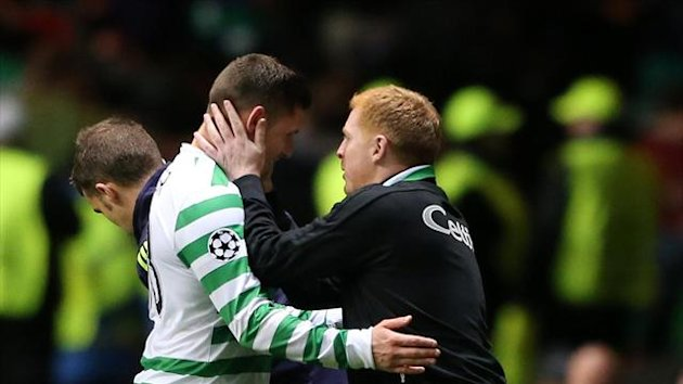 Neil Lennon, right, is pleased Gary Hooper will remain a Celtic player