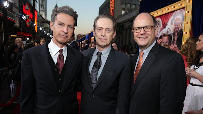 Executive Producer Vance DeGeneres, Steve Buscemi and Executive Producer Charlie Hartock at New Line Cinema's World Premiere of 'The Incredible Burt Wonderstone' held at Grauman's Chinese Theatre on Monday, Mar., 11, 2013 in Los Angeles. (Photo by Eric Charbonneau/Invision for New Line Cinema/AP Images)