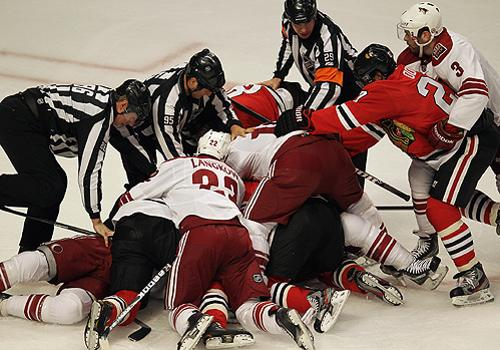Phoenix Coyotes and Chicago Blackhawks players Getty Images