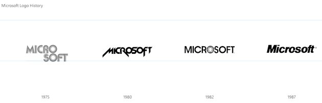 This undated image provided by Microsoft shows a graphic of the evolution of the company's logo from 1975 to 1987. Microsoft revealed a new corporate logo, Thursday, Aug. 23, 2012, the first revamp si
