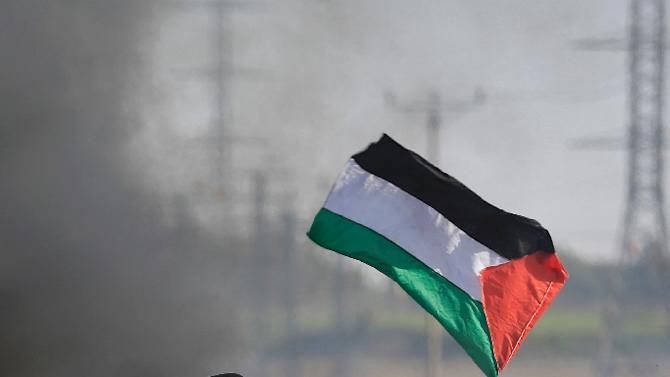A Palestinian protester waves his national flag during clashes with Israeli security forces along the border with Israel on the eastern outskirts of Gaza City on November 27, 2015
