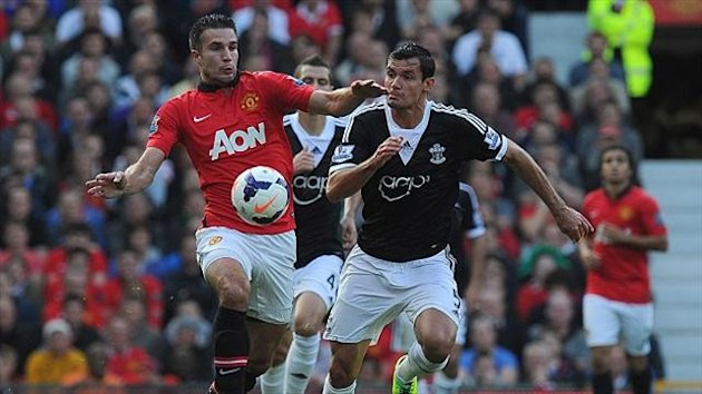 Robin van Persie's, left, opener was cancelled out by Dejan Lovren, right, late on