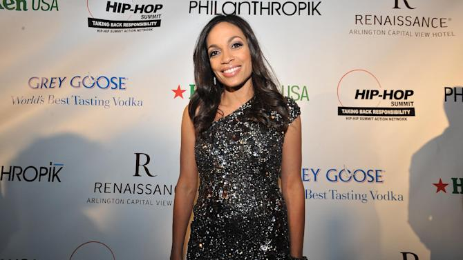 Rosario Dawson is seen at the Hip-Hop Inaugural Ball on Sunday, Jan. 20, 2013 in Washington. (Photo by Larry French/Invision/AP)