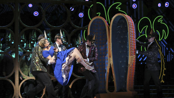 In this Friday, Jan. 25 2013 photo, Diana Damrau performs as Gilda during the final dress rehearsal of Giuseppe Verdi's Rigoletto at the Metropolitan Opera in New York.  (AP Photo/Mary Altaffer)