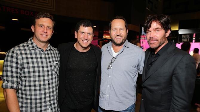 """Producers Ruben Fleischer, Sam Englebrant, Beau Flynn and William D. Johnson seen at eONE Films US Los Angeles Premiere of """"Two Night Stand"""" on Tuesday, Sep 16, 2014, in Los Angeles. (Photo by Eric Charbonneau/Invision for eONE Films US/AP Images)"""