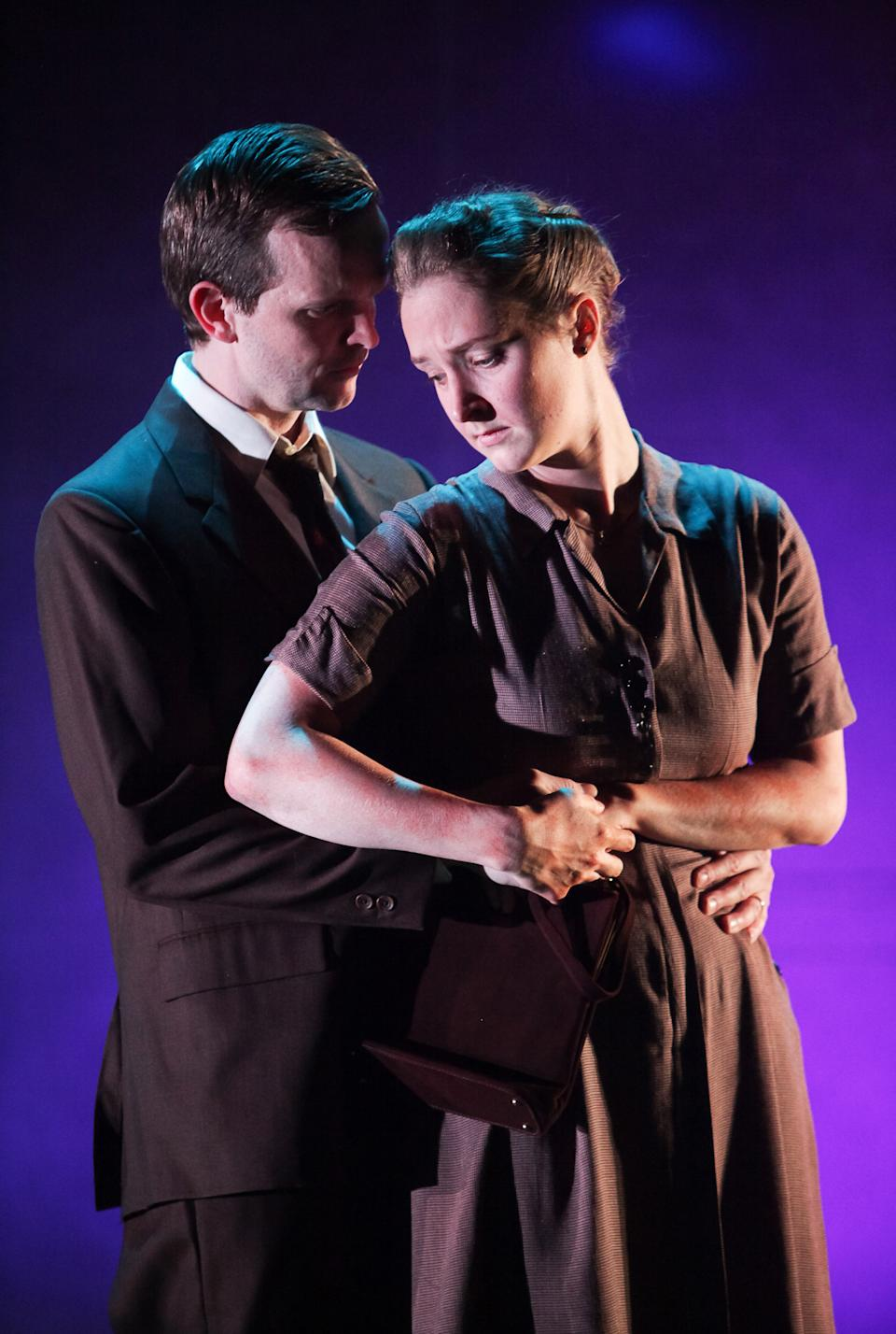 "Shown in a publicity photo released by Lincoln Center Theater are, Dashiell Eaves, left, and Amanda Quaid, in a scene from the LCT3 production of ""Luck of the Irish,"" currently performing off-Broadway at the Claire Tow Theater in New York. (AP Photo/Lincoln Center Theater, Erin Baiano.)"