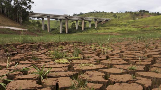 A view of part of the Cantareira reservoir, during a drought in Nazare Paulista